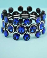 Sapphire/Clear Black Five Round Stone Stretch Bracelet