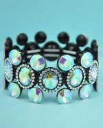 Aurora Borealis/Clear Black Multiple Circle Round Stone Stretch Bracelet