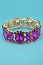 Fuchsia/Gold 1 Line Medium/Big Round Stone Framed Bracelet