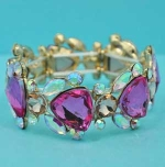 Fuchsia/Aurora Borealis Gold Multiple Stone Trillion Shape Stretch Bracelet