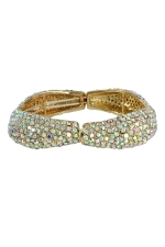 AB/Gold Pave Scalloped Stretch Bracelet