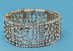 Clear/Gold Small Round Stone Square Stretch Bracelet