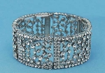 Clear/Silver Small Round Stone Square Stretch Bracelet