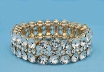 Clear/Gold Three Rows Medium/Small Round Stone Stretch Bracelet