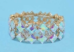 Aurora Borealis/Clear Gold Two Rows Star Shape Stretch Bracelet
