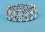 Aurora Borealis/Clear Silver Two Rows Star Shape Stretch Bracelet