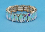 Aurora Borealis/Clear Gold One Row Stretch Marquise Stone Bracelet