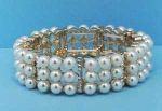 Pearl/Clear Gold Three Row Stretch Round Stones Bracelet