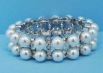 Pearl/Clear Silver Three Row Stretch Round Stones Bracelet