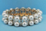 Pearl/Clear Two Row Stretch Round Stone Bracelet