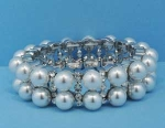 Pearl/Clear Silver Two Row Round Stone Stretch Bracelet