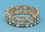 Light Colorado/Clear Gold Three Rows Pear/Round Stone Stretch Bracelet