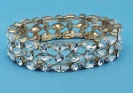 Clear/Gold Three Rows Marquise Round Stone Stretch Bracelet