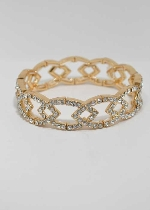 Clear/Gold Chain Shape One Row Stretch Bracelet