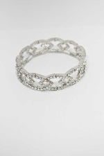 Clear/Silver Chain Shape Stretch Bracelet