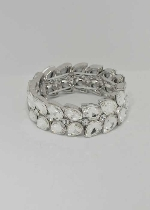 Clear/Silver Two Row Pearshape Stretch Bracelet