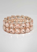 Light Peach/Rose Gold Two Row Pearshape Stretch Bracelet