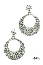 Crystal/Silver Round Top W/pave Open Round Earring