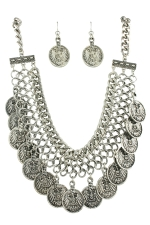 Hem/Silver Link Necklace Set With Chain Dangles