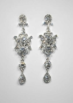 "Clear/Silver Framed Shape 4"" Post Earring"