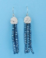 "Blue/Clear Top Ball Shape Round Stone 1.5"" Fish Earring"