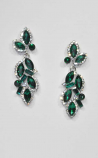Emerald/ Clear Silver Leaves Shape Earring
