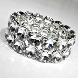 Clear/Silver Two Rows Square Stone Stretch Bracelet