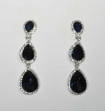 """Montana Navy/Clear Silver Three Linked Pearshape Post 2.5"""" Earring"""