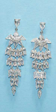 "Cubic Zirconia/Silver Small Pear Stone 2"" Post Earring"