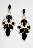 """Jet/Clear Gold Framed Marquise Stone 3"""" Post Earring"""