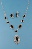 Jet/Clear Silver Marquise Shape Small Round Stone Set