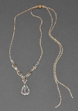 """Clear/Gold 20"""" Marquise Slide Backdrop Necklace"""