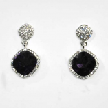 Amethyst/Clear Silver Two Linked Square Shape Post Earring