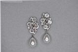 """Pearl/Clear Silver Top Branch Shape Dancing Stone 2"""" Post Earring"""