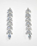 "Cubic Zirconia/Silver Branch Leaves Shape 2"" Post Earrings"
