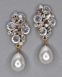 """Pearl/Clear Gold Top Branch Dancing Stone 2"""" Post Earring"""