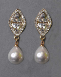 """Pearl/Clear Gold Top Diamond Marquise 1.5"""" Post Earring"""