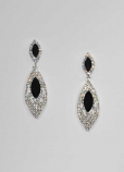 Jet/Clear Silver Two Marquise Post Earring