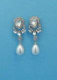 Pearl/Clear Rose Gold Top Flower Dancing Stone Earring