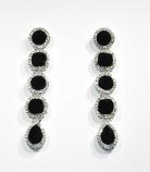 "Jet/Clear Silver Linked Stones 2.5"" Post Earring"