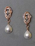 """Pearl/Clear Rose Gold Top Branch Shape Dancing 1.5"""" Post Earring"""