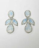 "White Opal/Clear Silver Bug Shape 2.5"" Post Earrings"