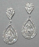 Clear/Silver Two Linked Teardrop Small Round Earring
