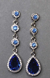 Sapphire/Clear Silver Four Linked Round/Teardrop Post Earring
