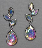 "AB/Silver Leaf Like Dangle 1-3/4""Post Earring"