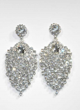"""Clear/Silver Small Round Stone Center Pearshape 2"""" Post Earring"""