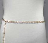 Clear/Gold Thin Belt 3 Rows Chain