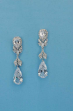 "Cubic Zirconia/Silver Flower Shape 2"" Post Earring"