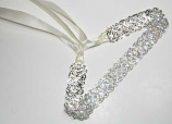 Clear/Silver Small Round Stone Ribbon Belt