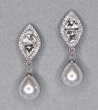 "Pearl/Clear Silver Top Diamond Marquise Shape 1.5"" Post Earring"